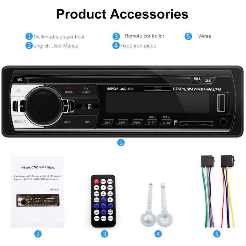 วิทยุรถยนต์ Autoradio 1 Din Bluetooth SD MP3 ผู้เล่น Coche วิทยุ Estereo Poste Para Auto Audio สเตอริโอ Carro Samochodowe Automotivo