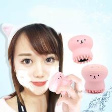 Розовая медуза в форме силиконового осьминога для очищения лица Пудра слоеная кисть щетка для очистки лица