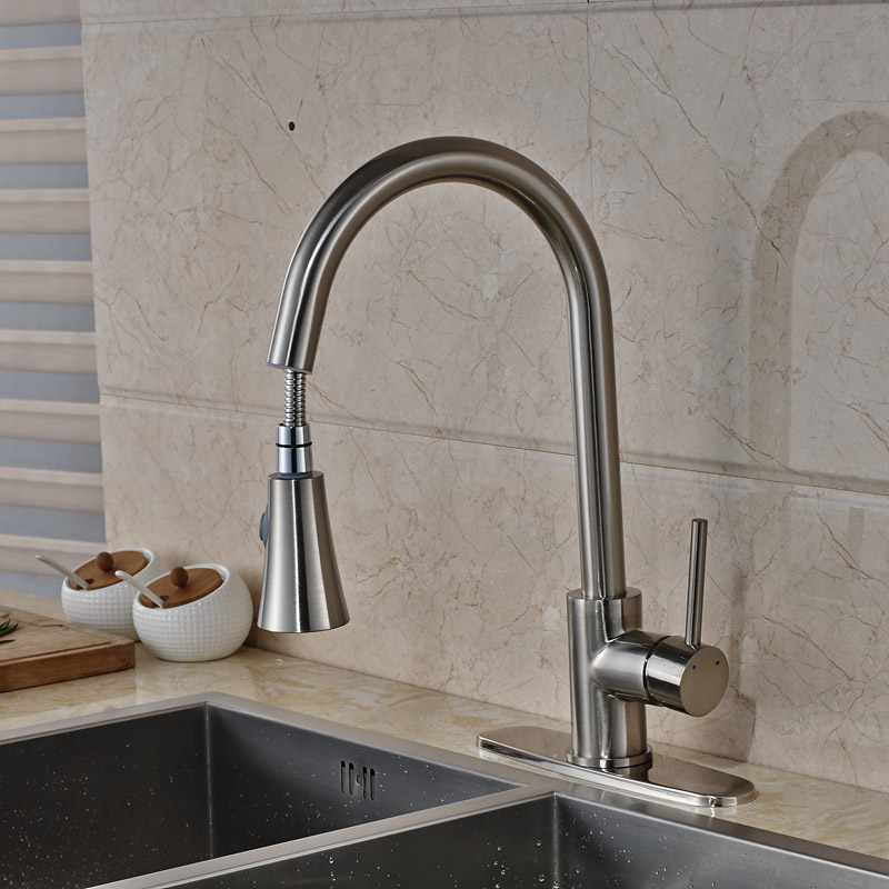Newly Kitchen Sink Mixer Faucet With Hot Cold Water Taps Brushed Nickel  Hole Cover Plate In Kitchen Faucets From Home Improvement On Aliexpress.com  ...