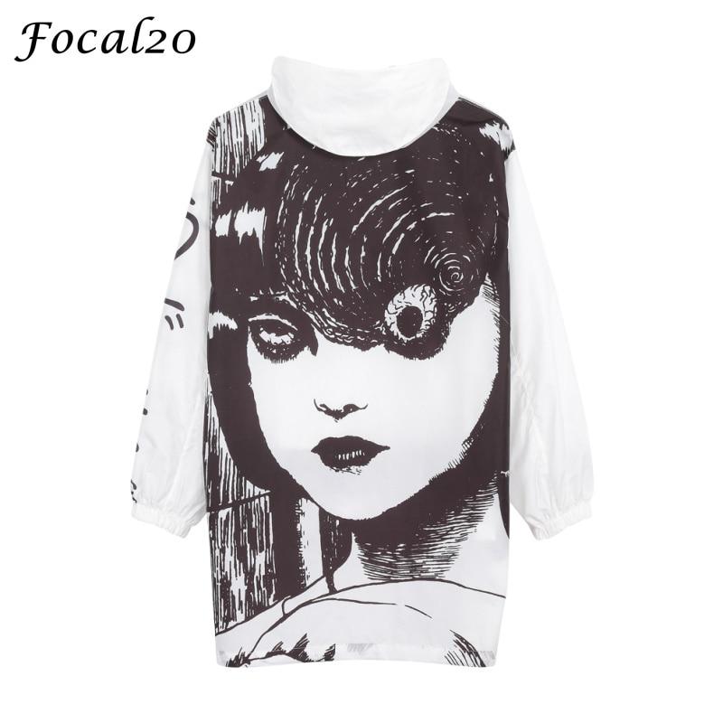 Focal20 Streetwear Junji Itou Manga Print Oversize Women Hooded Jacket Anime Hoodie Pullover Jacket Coat Outwear Streetwear