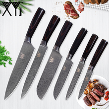 hot deal buy xyj damascus veins kitchen knives set 7cr17 stainless steel knives well balanced 8