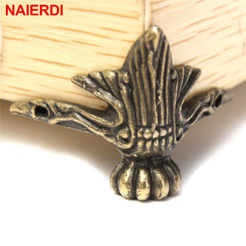 8PCS NAIERDI 40x30mm Antique Wood Box Feet Leg Corner Protector Triangle Rattan Carved Decorative Bracket For Furniture Hardware