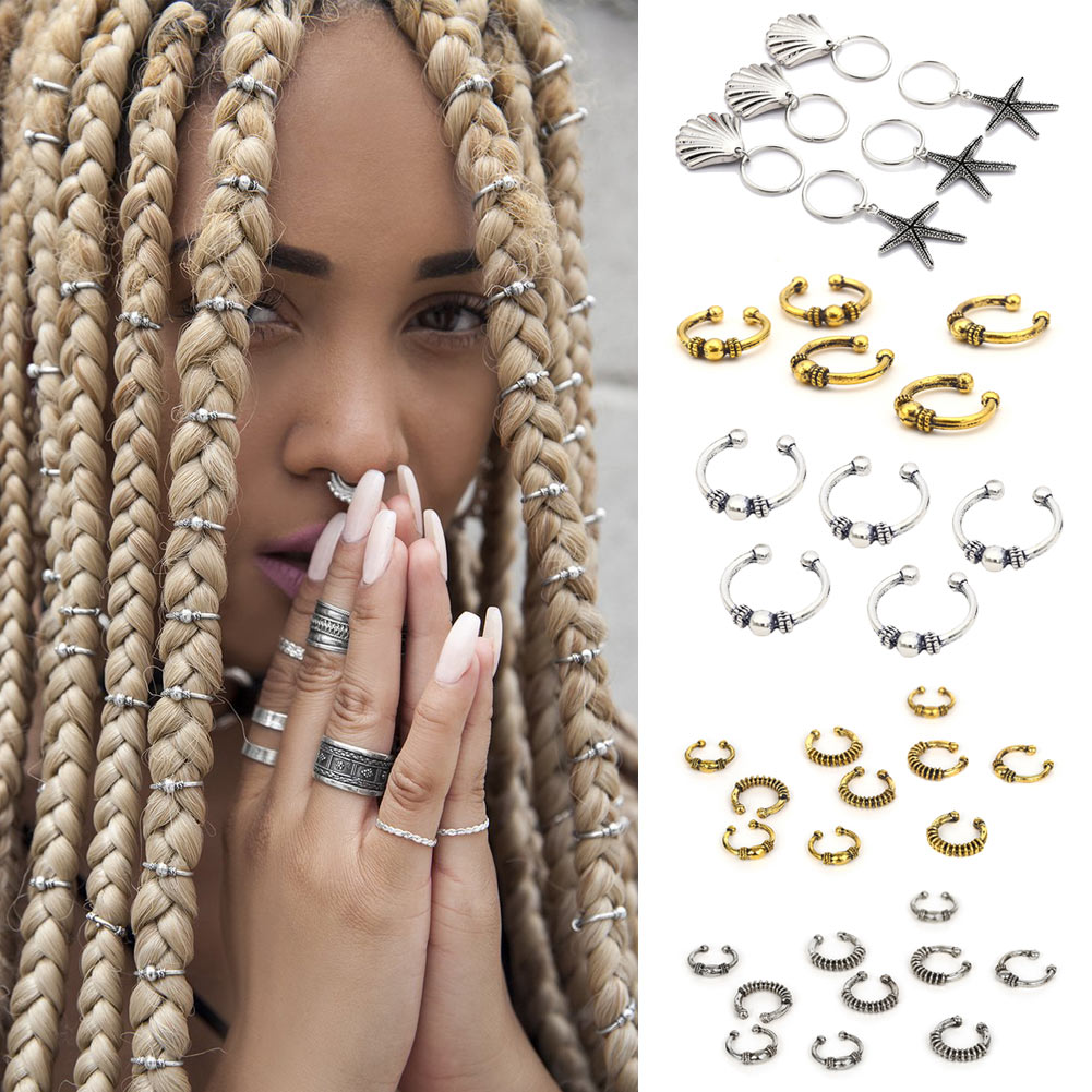 Reggae Club Hair Clips Dreadlocks Locs Opened-Ring Hairstyle weave plaits DIY Accessory for African Hair Clip bracelet