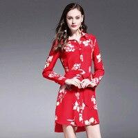 Iadoaixnal 100% zijde rode bloemenprint volledige mouw vrouwen jurk casual mode turn-down kraag merk dameskleding jurk