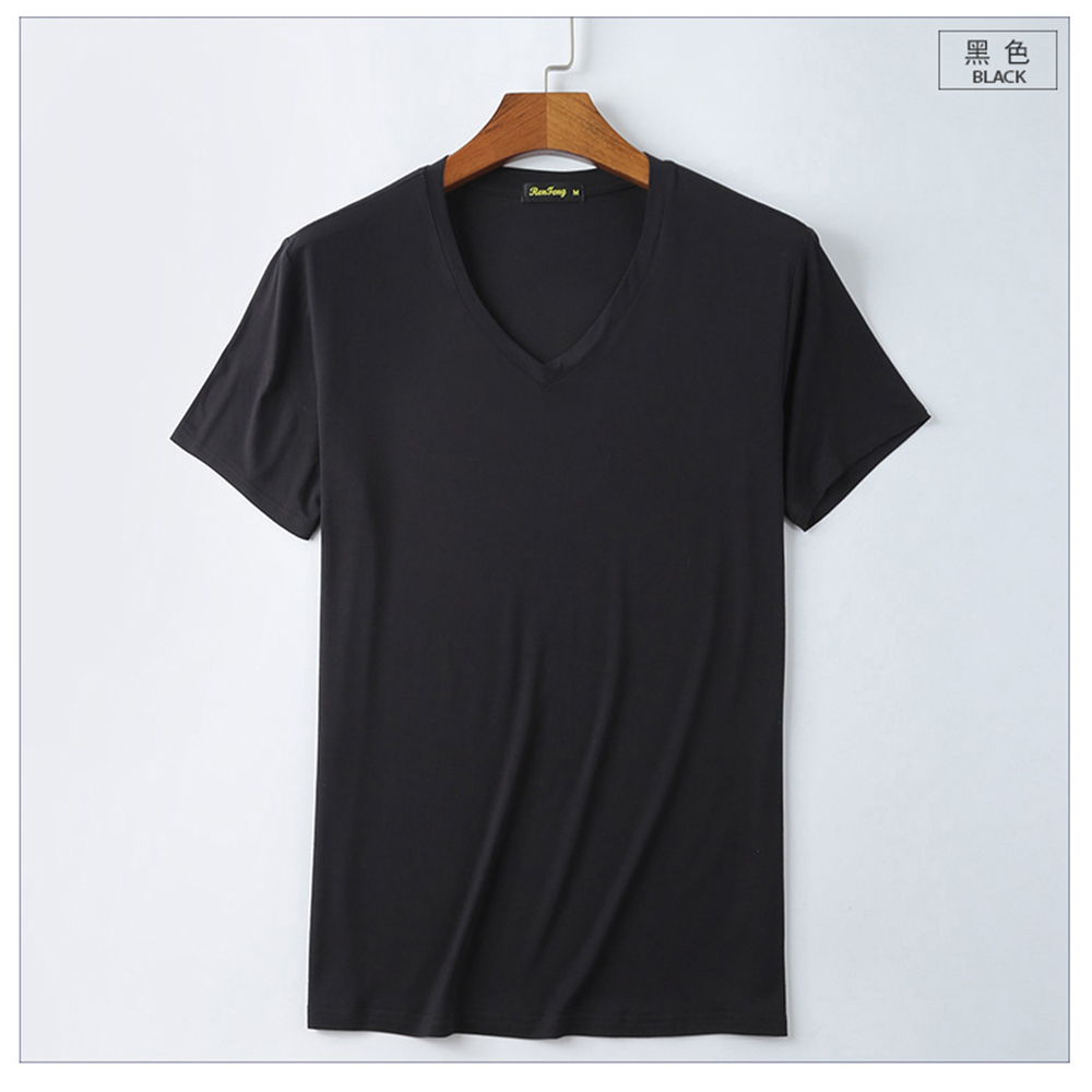 943968f3a62b ... Brand T shirt Men's V-neck Slim Fit Pure Mercerized Cotton T-shirt  Fashion ...