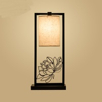 The New Chinese Classical Decorative Ceramic Lamp Bedroom Bedside Lamp Vintage Wrought Iron Dining Room Study