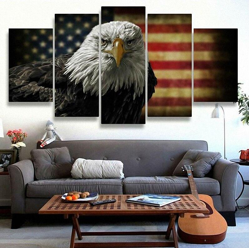 5 Pièces Toile Peinture Aigles Américains USA Drapeau Modulaire Image Pour Moderne Décoratif Chambre Salon Chambre Mur de La Maison Art Décor