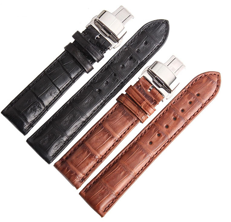 18mm 19mm 20mm 21mm 22mm 24mm Size Available1pcs Black Genuine Alligator Leather Watch Strap Band Butterfly Deployment Buckle