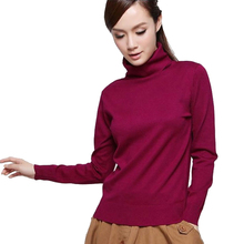The new winter south Korean women's dress silk knitted sweater with a high collar and long sleeve collar sweater