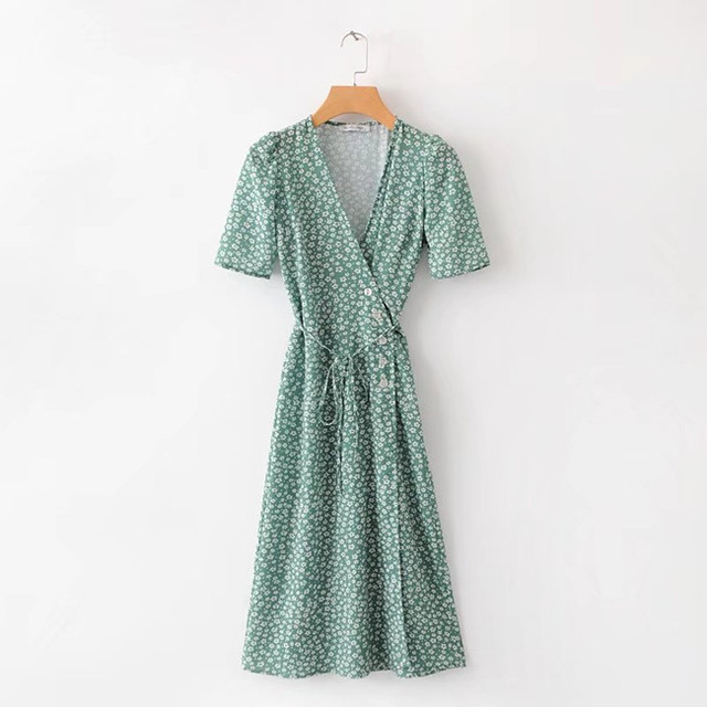Floral Printed Women V-neck Summer Dress 2018 Rouje Vintage Buttons Women Beach Dress Lace-up Femme Tea Dress cwd0177-5