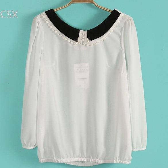 New Sweet Women's Girl Doll Collar Long Sleeve Bowknot Chiffon Shirt Blouse 3 Colors