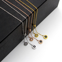 Free Shipping Black White Rhinestone CZ Silver Color / Gold Rose Stainless Steel Necklace