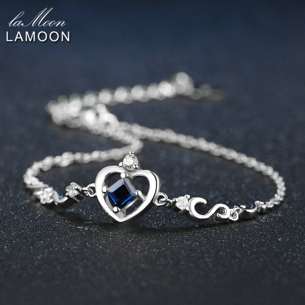 цены LAMOON Crow Princess Cut 0.2ct 100% Real Blue Sapphire 925 Sterling Silver Jewelry S925 Charm Bracelet LMHI029