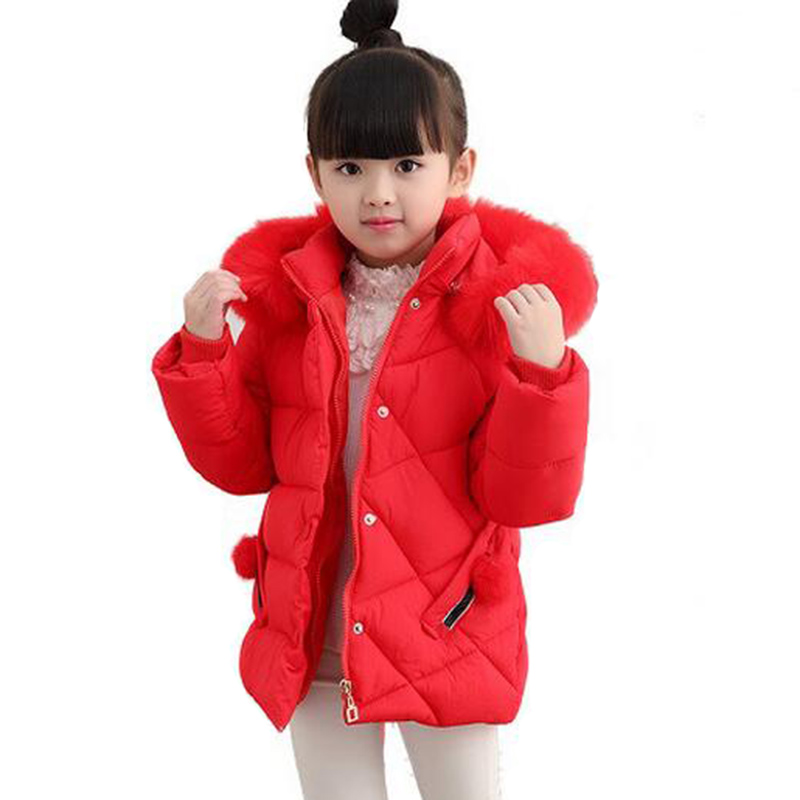 2018 winter red pink down jacket for girls thick cotton warm fur collar jacket children outwears for girls clothes kids coat teenager girls winter jacket hooded cotton coat thick long parkas fur collar children warm casual outwears
