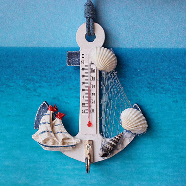 Wood Anchor Thermometer Crafts Art Wall Hanging Hook Meter Gauge Shell Nautical Decor Vintage Home Decoration Creative Gift 3