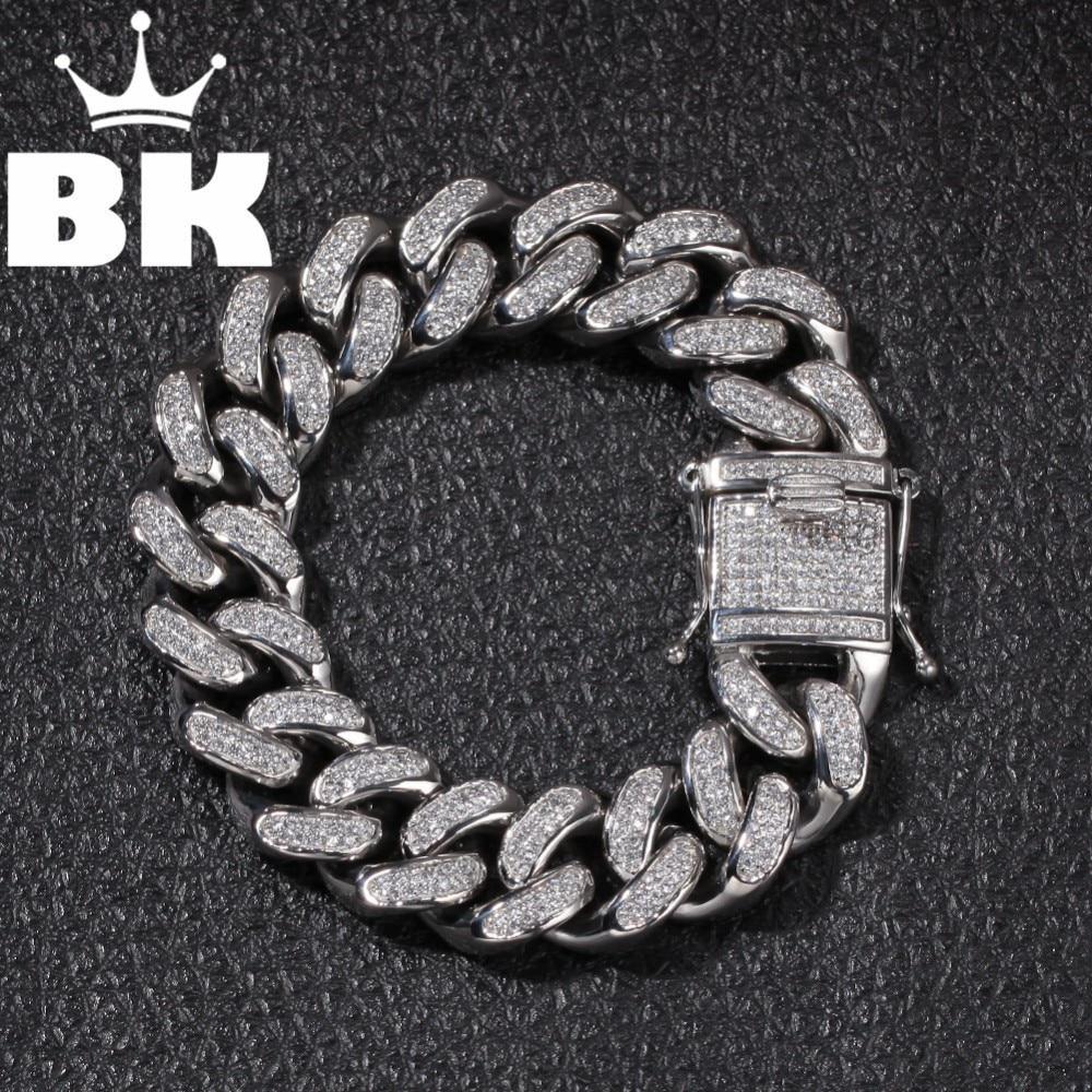 Haute qualité en acier inoxydable or bordure cubaine chaîne lien épais Bracelets Punk bijoux rappeur hommes femmes accessoires