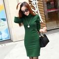 2016 Solid Thicken Winter Dress For Women Turtleneck Fleece Warm Dresses Feminino Casual Long Sleeve Plus Size Vestidos