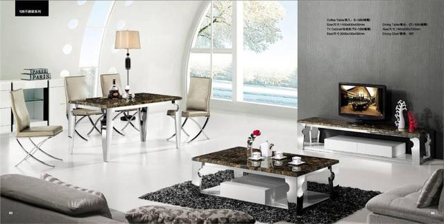 1439 96 Acier Inoxydable Et Marbre 3 Pieces Salon Salle A Manger Ensemble Table Basse Meuble Tv Et Table A Manger Promotion Yq125 Dans