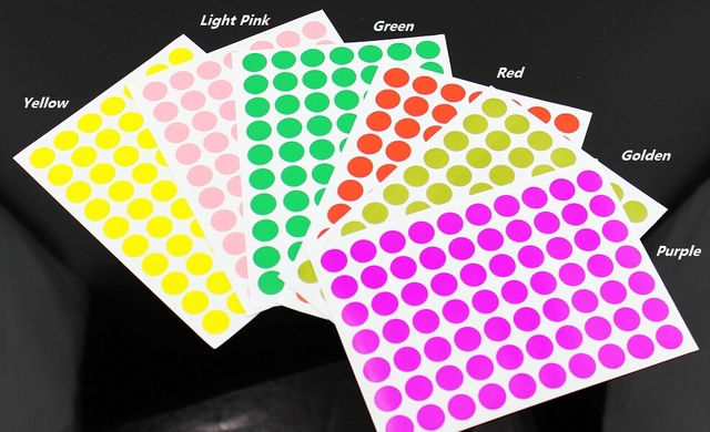 6 color round sticker coding label tag self adhesive dot stickers inventory code 10mm