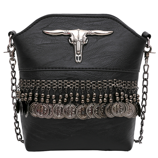 Punk Style Fringe Handbags Black Leather Boho Bag Small Clutch Tassel Women Hand Bags Stud Evening