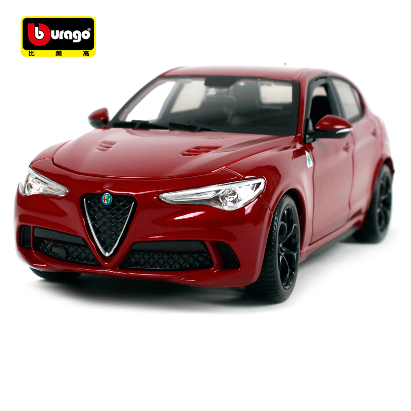 Bburago 1:24 alfa romeo Stelvio SUV red wine blue car diecast motorcar collecting car models for men 21086