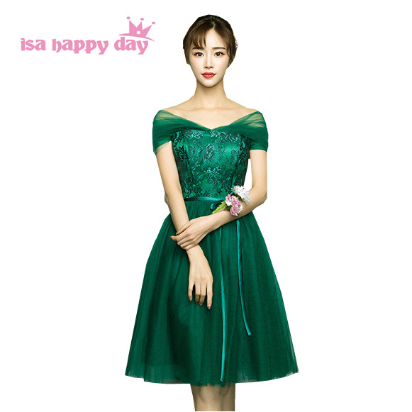 Online Shop green bridesmaid party knee length dresses for special ...