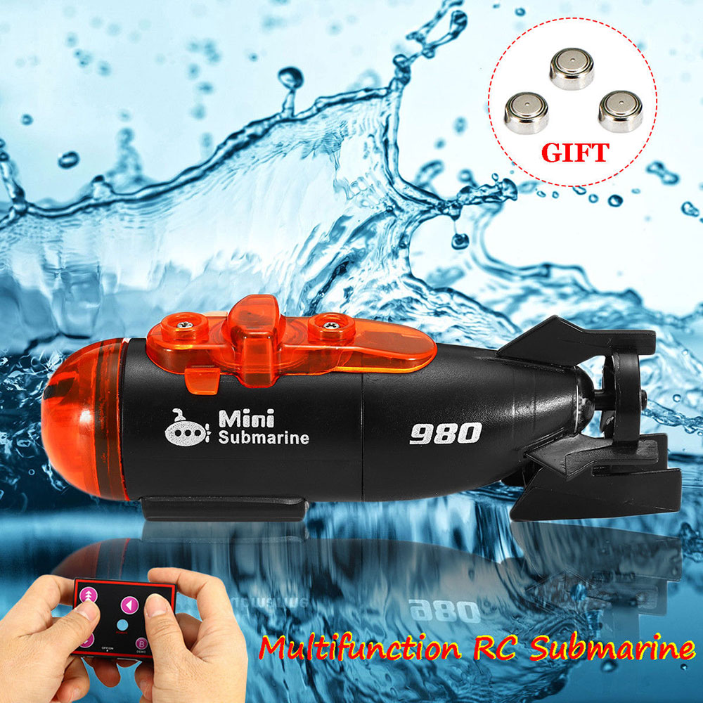Electric Toy 2 Modes RC Submarines Innovative 4 Channels High Speed Outdoor Infrared RC Submarines LED Light Remote Control Boat