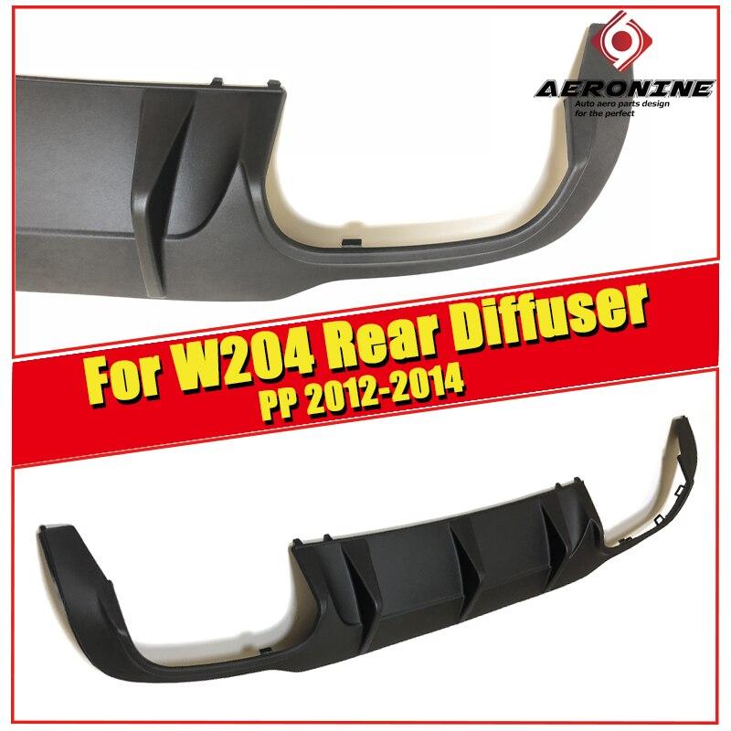 For MercedesMB W204 C63 Look Rear Bumper Diffuser PP black C class C200 C220 C250 C300 C350 lip diffuser&C63 bumper 2012 2014