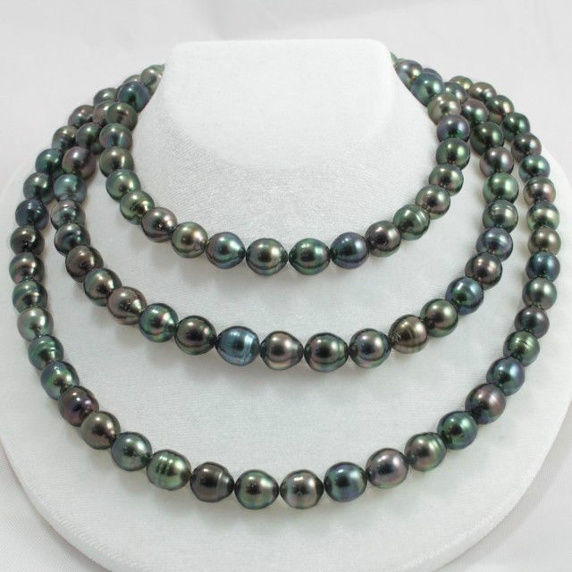HOT## Wholesale FREE SHIPPING >12MM natural tahitian BLACK PEACOCK GREEN PEARL NECKLACE 48inch