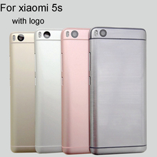 New For Xiaomi 5S M5S Mi5S Spare Parts Back Battery Cover Door Housing + Side Buttons + Camera Flash Lens Replacement with logo