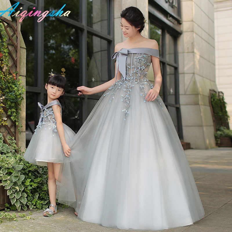 Wedding GIRL dress Silver GIRL dress Birthday girl dress,Mother and daughter dresses,Family look dresses,Matching mom and daughter dresses