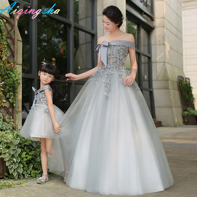 Correspondant mère fille vêtements maman et fille robe de mariée maman et fille robes de bal Tutu jupe filles longue robe Maxi