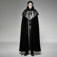 Gothic Style Men Hoodie Cape Long Coat Steampunk Vintage Pattern Carved Long Cloak Autumn Winter Thick Velveteen Windbreakers