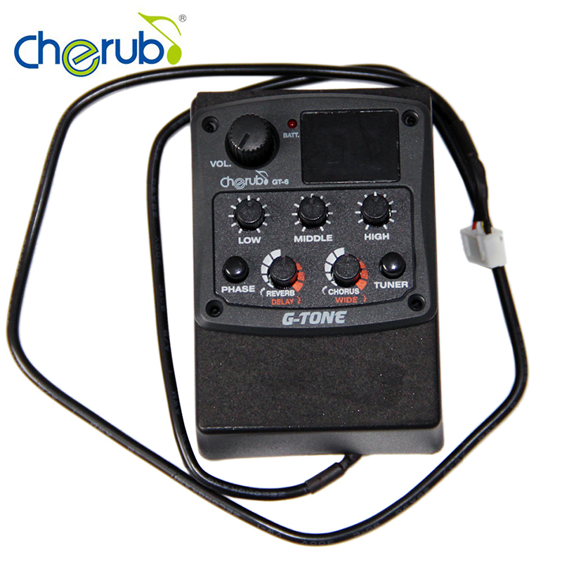 Cherub GT-6 New Acoustic Guitar Preamp Piezo Pickup 3-Band EQ Equalizer LCD Tuner with Reverb/Delay/Chorus Guitar Accessories 4 band eq piezzo guitar pickup black