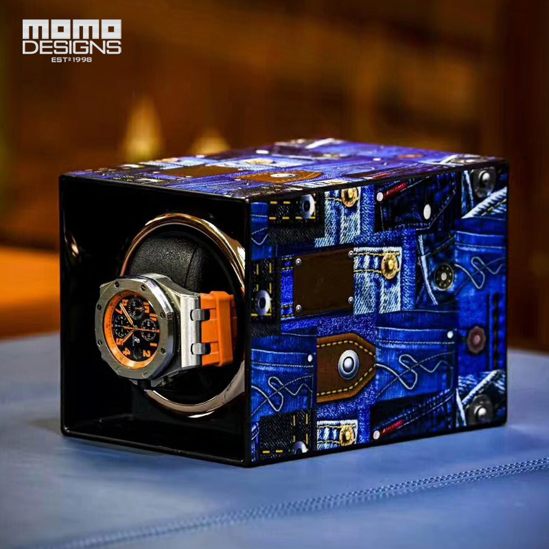 Fashion 3D pattern Watch winder Single automatic watch chain box with TPD 9 mode control ultra luxury 2 3 5 modes german motor watch winder white color wooden black pu leater inside automatic watch winder
