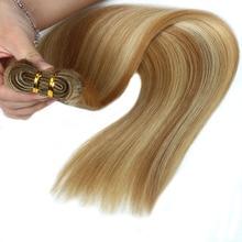 """ALI-BEAUTY машины Волосы Remy Связки прямые волосы утка 100% человеческих Наращивание волос Цвет # P27/613 Синтетические волосы соткут 14 """"16"""" 18 """"дюймов"""