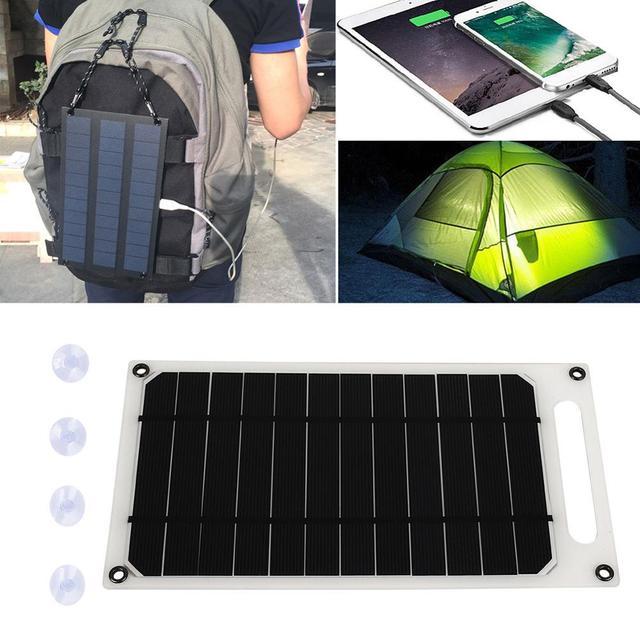 פנל סולארי קמפינג 5V 10W 2A עמיד שמש מטען לוח טלפון מטען מהיר מטען USB יציאת טיפוס שמש גנרטור חיצוני