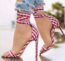 Concise Plaid Lace Up Sandals High Heel One Strap Open Toe Cut Out Cover Heel Summer Shoes Sexy Lady Woman Dress Shoes Stiletto цена 2017