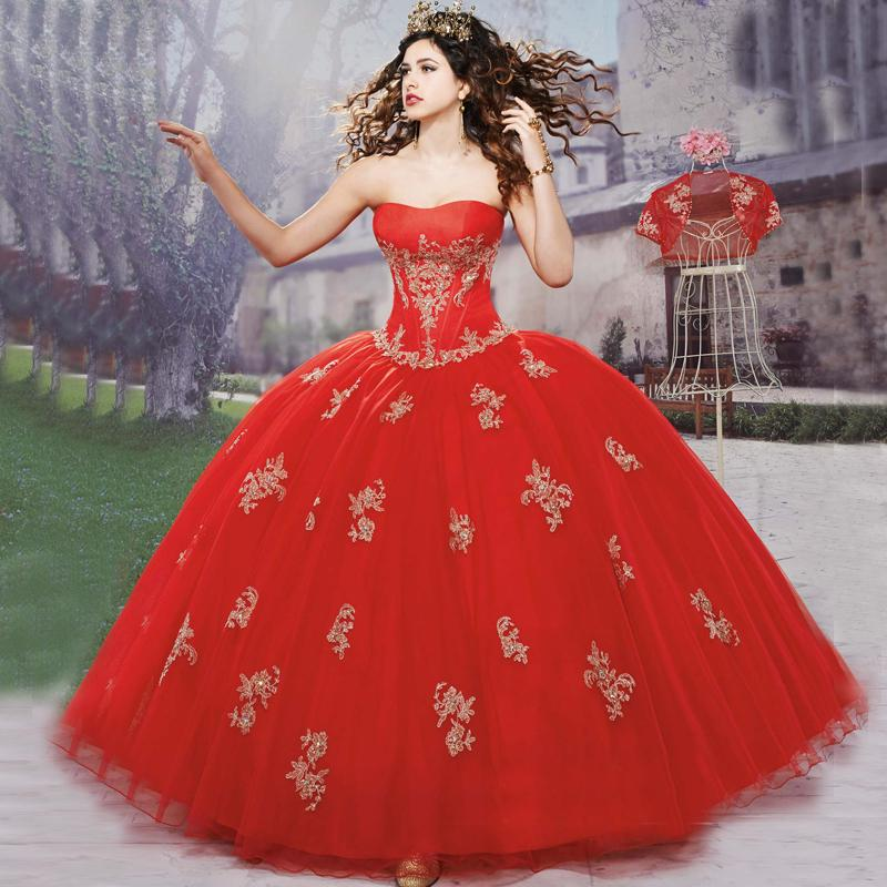 Aliexpress.com : Buy New Arrival 2017 Red Peach Quinceanera ...
