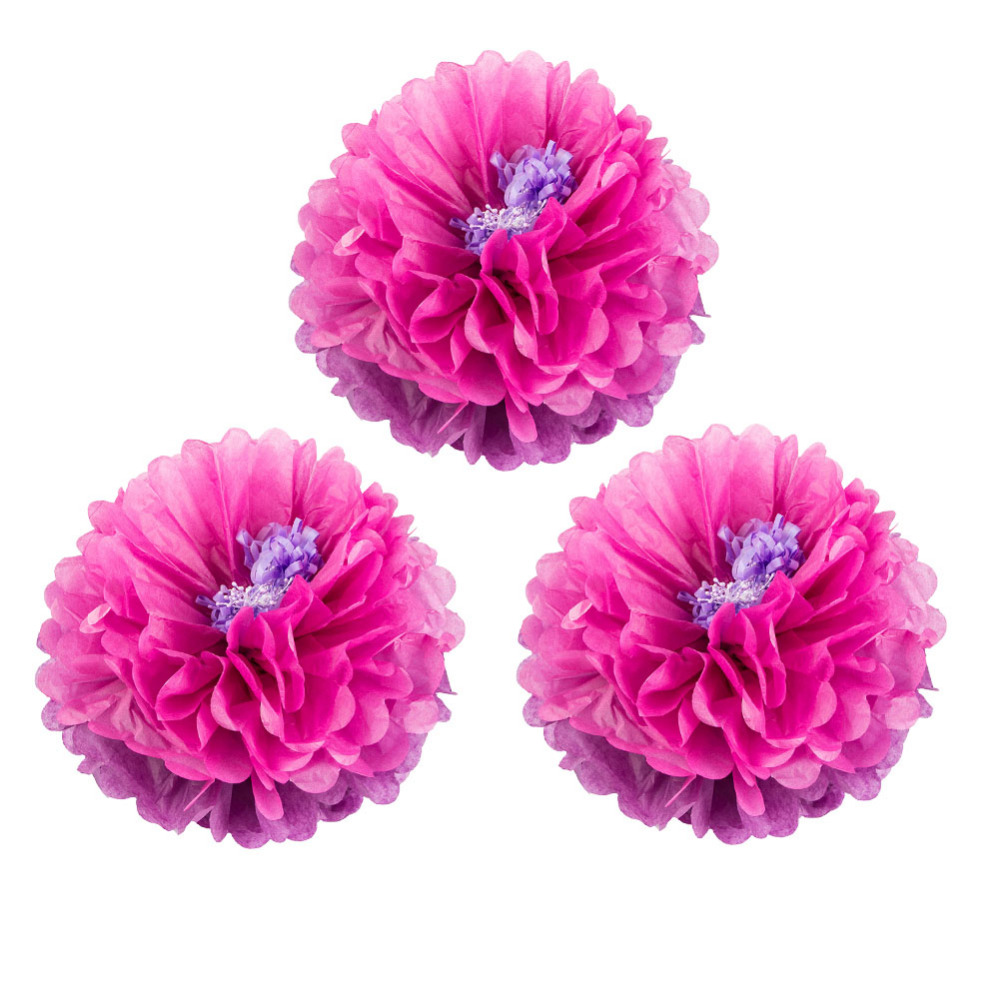 Set Of 3 Tissue Paper Pom Pom Flower Stamen Chrysanth Flower