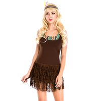 Lady Pocahontas Native American Indian Wild West Fancy Dress Sexy Halloween Party Indian Princess Costumes Outfit