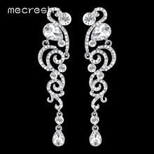 Mecresh Luxury Crystal Silver Color Long Drop Earrings for Women Bird Shape Bridal 2018 Fashion Wedding Jewelry MEH1083
