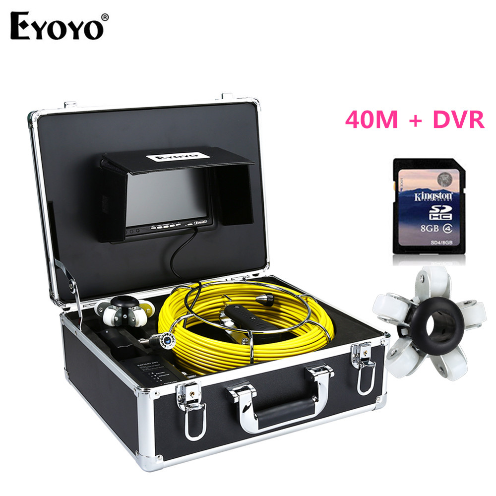 Eyoyo WF92 23mm 40M DVR With 8GB Card 7 HD  Sewer Pipe Pipeline Camera 1000TV 12PCS White LEDS Drain Inspection Cam Waterproof Eyoyo WF92 23mm 40M DVR With 8GB Card 7 HD  Sewer Pipe Pipeline Camera 1000TV 12PCS White LEDS Drain Inspection Cam Waterproof