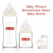 Baby Wizard baby bottle feeding bottle wide neck glass great quality naturally shaped teats with silicon nipple handle(China)