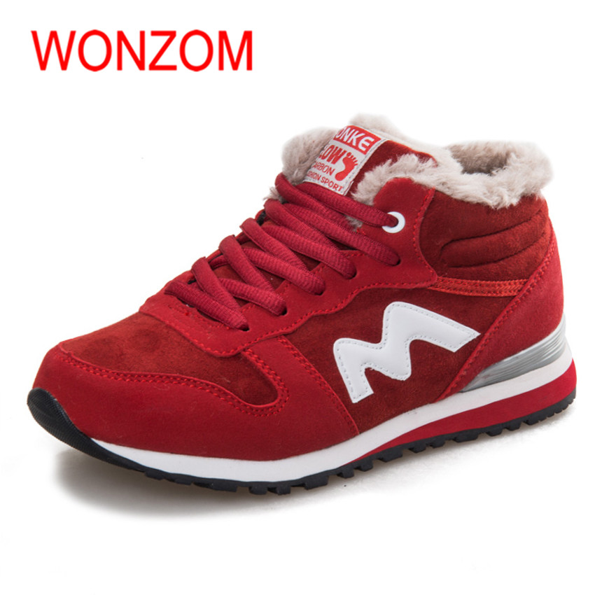 WONZOM New Arrival Women Winter Suede Ankle Snow Boots Fashion Warm Fur Plush Female Shoes High Quality Lace-Up Botas 36-41 designer women winter ankle boots female fur lace up snow boots suede plush sewing botas