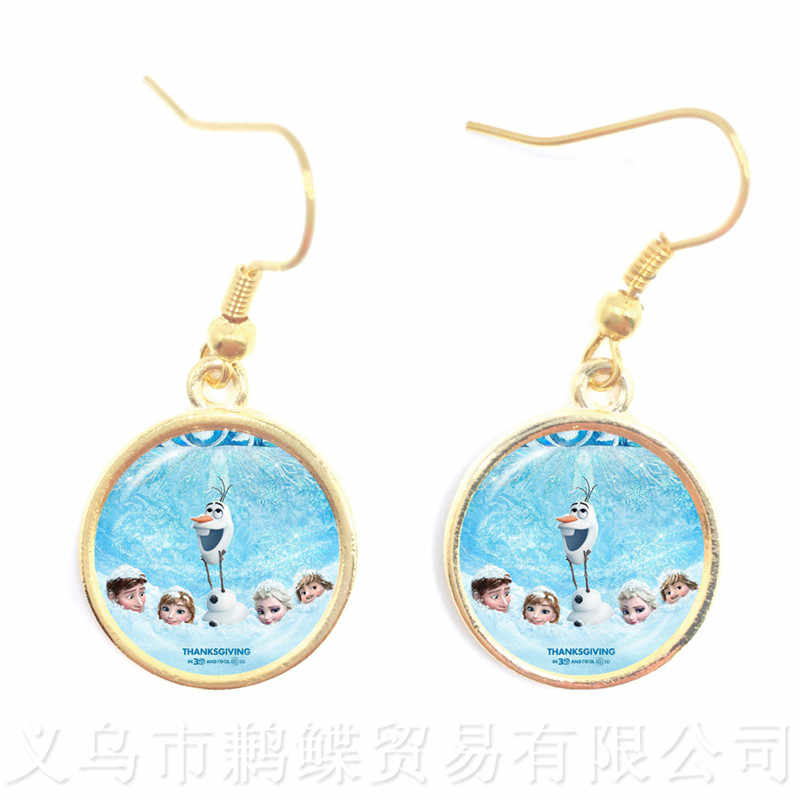 2018 New Princess Elsa Anna Cute Drop Earrings Popular In Europe And America 16mm Glass Dome Pendant Earrings For Women Girls