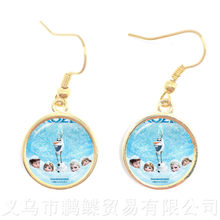 2018 New Princess Elsa Anna Cute Drop Earrings Popular In Europe And America 16mm Glass Dome Pendant Earrings For Women Girls(China)