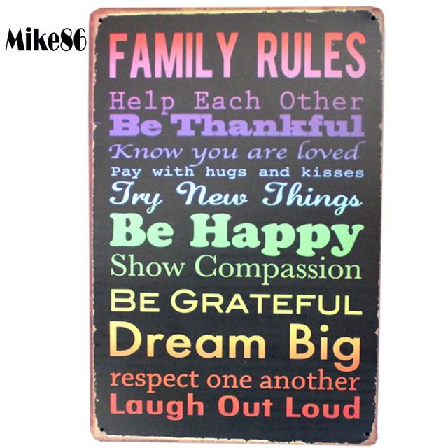 Mike86 Family Rules Tin Sign Vintage Wall Art Pub Poster Metal Decor Aa