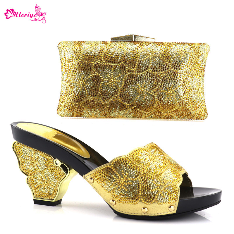 все цены на New Fashion Summer High Heeled Shoes for Women Italian Shoes with Matching Bag Set Decorated with Rhinestone Nigerian Party Shoe