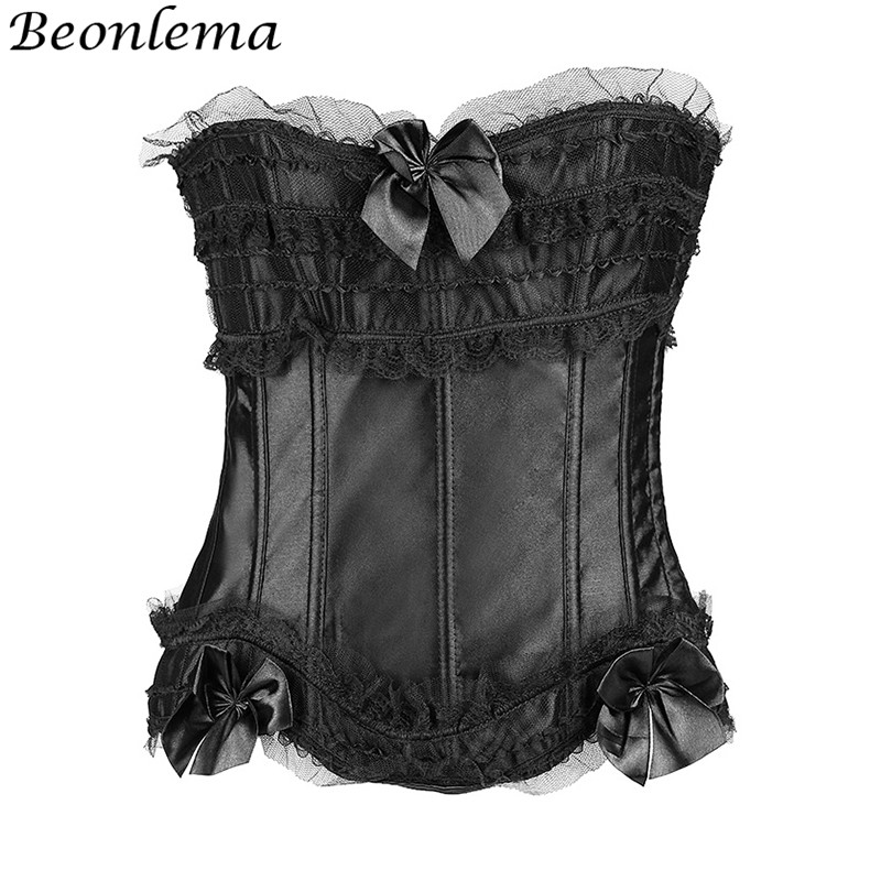 BEONLEMA Sexy Tops Ruffles Lace   Corset   For Women 14 Plastic Bones Half Cup Push Up   Bustier   Bow Tight Up Ribbon Ropa Korse